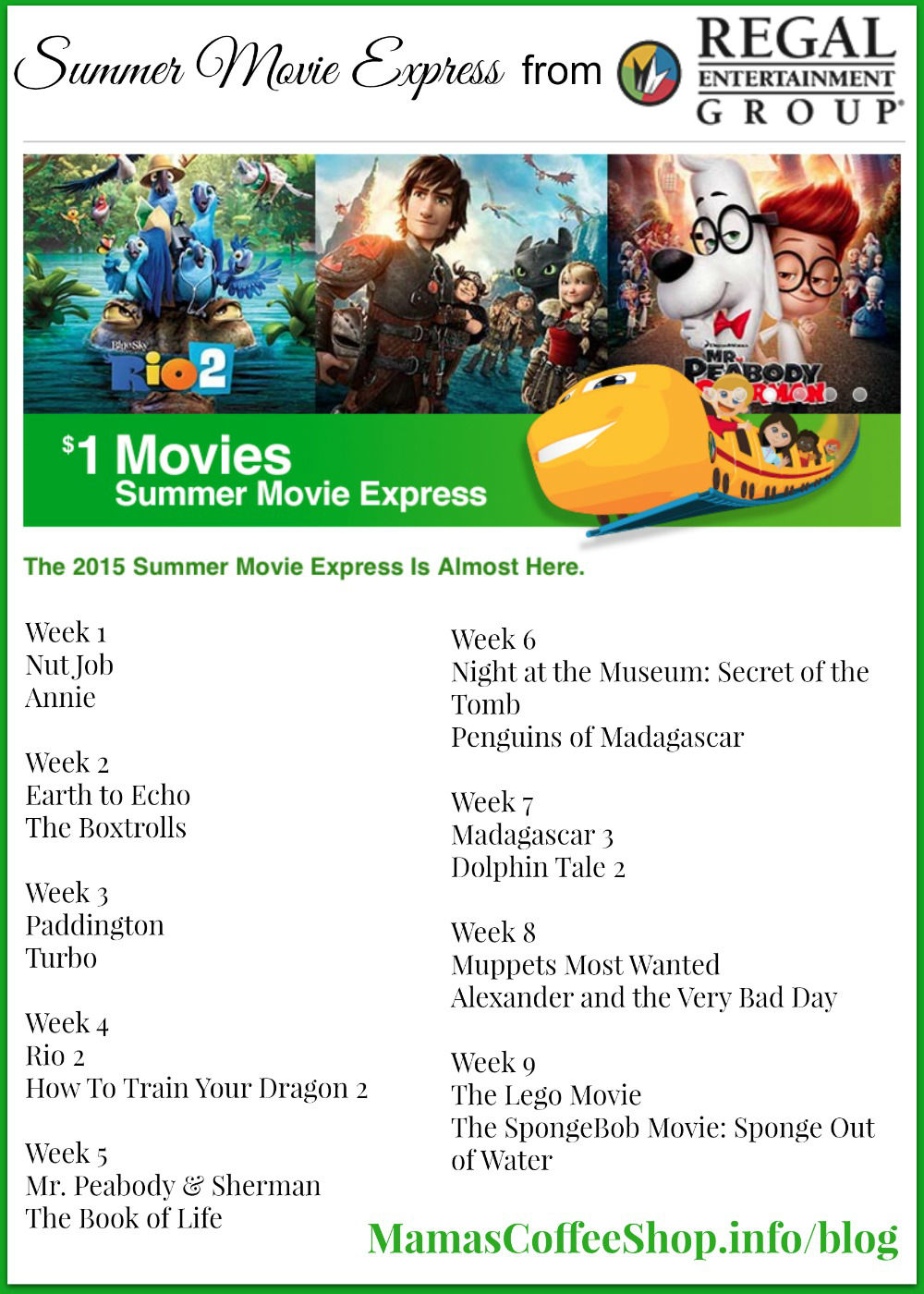 Mamas Coffee Shop |Regal Summer Movies 2015 List